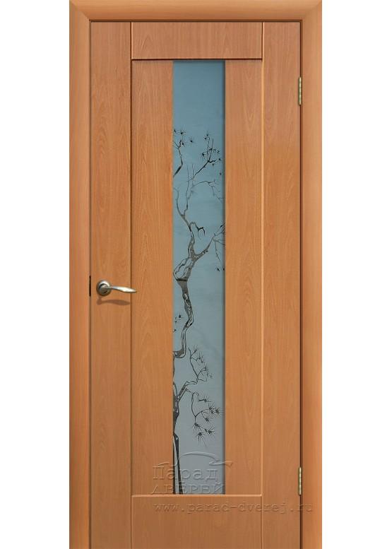 Межкомнатная дверь с ПВХ-пленкой Японская вишня ПО Миланский орех