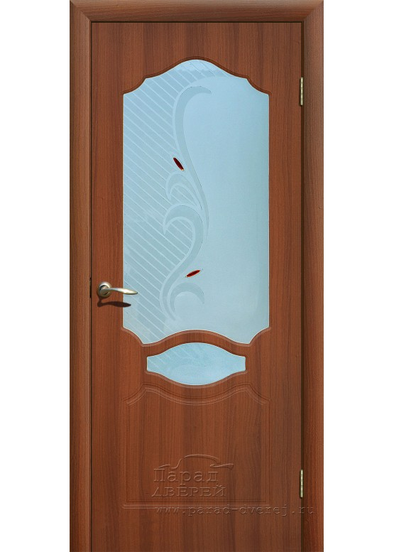 Межкомнатная дверь с ПВХ-пленкой Венеция ПО Итальянский орех