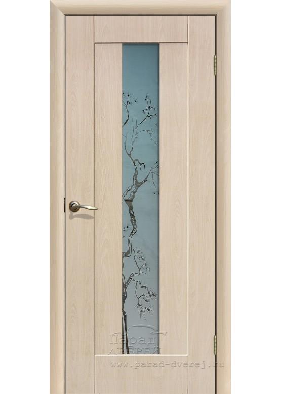 Межкомнатная дверь с ПВХ-пленкой Японская вишня ПО Беленый дуб