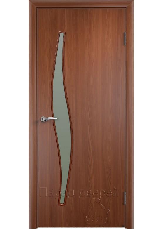Межкомнатная ламинированная дверь Волна ПО Итальянский орех