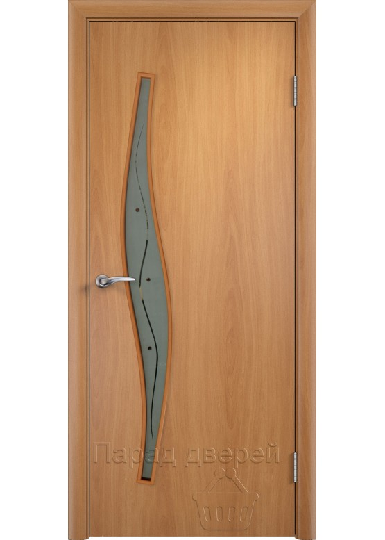 Межкомнатная ламинированная дверь Волна Ф Миланский орех