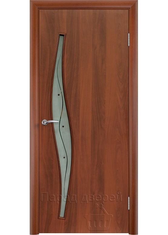 Межкомнатная ламинированная дверь Волна Ф Итальянский орех