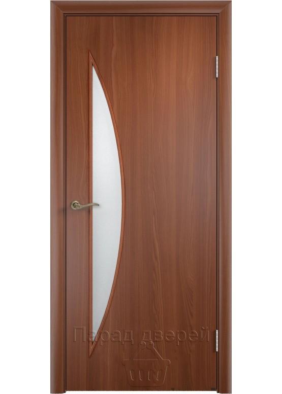 Межкомнатная ламинированная дверь Луна ПО Итальянский орех
