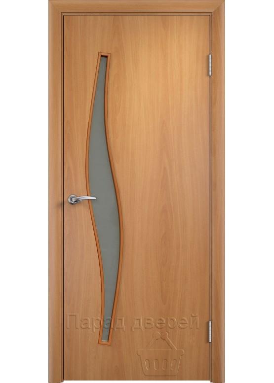 Межкомнатная ламинированная дверь Волна ПО Миланский орех
