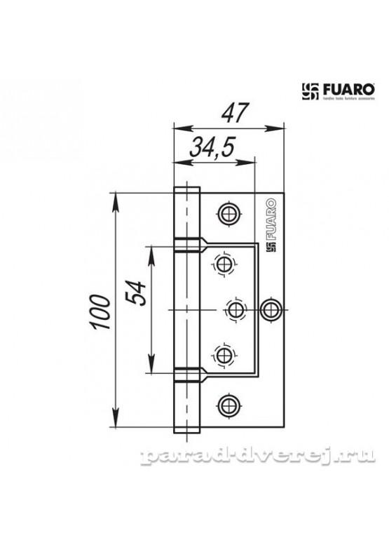 Петля универсальная без врезки 300-2BB/BL 100x2,5 AC (медь) БЛИСТЕР