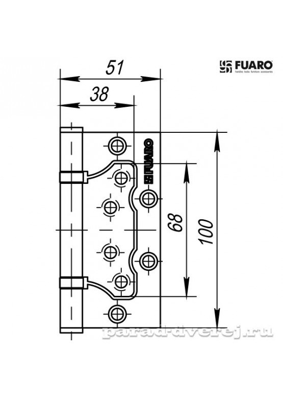 Петля универсальная без врезки 500-2BB/BL 100x2,5 PB (латунь) БЛИСТЕР