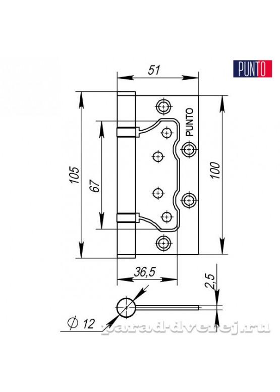 Петля универсальная без врезки 200-2B 100x2,5 PN (мат. никель)