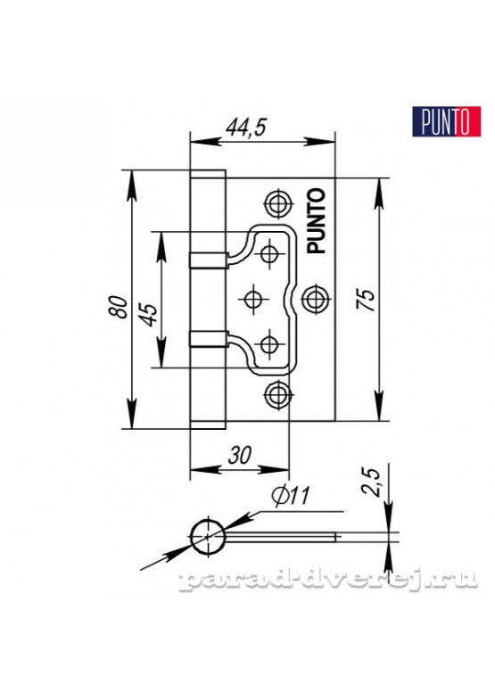 Петля универсальная без врезки 200-2B/HD 75x2,5 AB (бронза)
