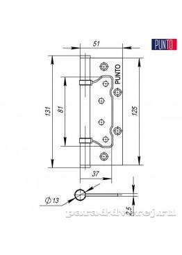 Петля 125x2,5 (200-2B универсальная без врезки) AC Медь