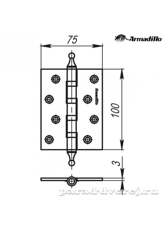 Петля универсальная 500-A4 100x75x3 WAB Матовая бронза Box