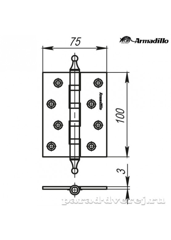 Петля универсальная 500-A4 100x75x3 SC Матовый хром Box